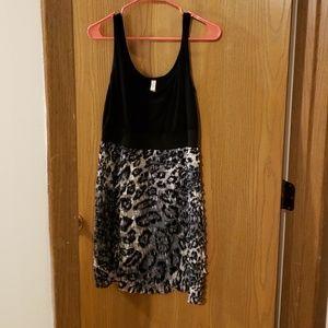 Guc snow leopard and black ruffle mini dress